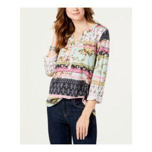 Style & Co Womens Blouse Split Neck 3/4 Sleeve